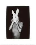 Man with Rabbit Mask, c.1979 Gicléedruk van Andy Warhol