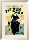 The Sun Sunshine Newspaper Estampe encadrée par Louis J Rhead