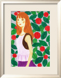 Girl with a Long Hair Surrounded by Flowers Posters by Hiromi Taguchi