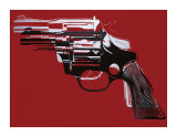 Guns, c.1981-82 (White and Black on Red) Giclée-tryk af Andy Warhol