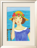 Girl with a Straw Hat Who Stands by the Sea Art by Hiromi Taguchi