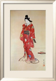 Lady In Red Prints by Kyosai 