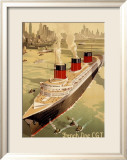 CGT Oceanline Normandie Framed Giclee Print by Sigismund Righini