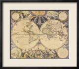 New World Map, c.1676 Affiches par Pieter Goos