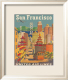 United Airlines: San Francisco, c.1950 Gerahmter Gicl&#233;e-Druck von Stan Galli
