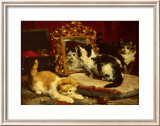 Kittens, 1893 Art by Charles Van Den Eycken