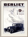 Auto Berliet, La 9CV Gerahmter Gicl&#233;e-Druck von Jean D&#39; Ylen