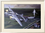 WWII, Lockheed P38 Lightning Estampe encadrée par Paul Wollman