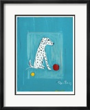 Dalmatian with Red and Yellow Ball Gerahmter Druck (limitierte Auflage) von Ken Bailey