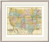 National Map of the Territory of the United States, c.1868 Estampe encadrée par William J. Keeler