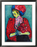 Girl with Peonies Art par Alexej Von Jawlensky
