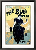 The Sun Sunshine Newspaper Framed Giclee Print by Louis J Rhead