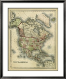 Antique Map of North America Posters by Alvin Johnson