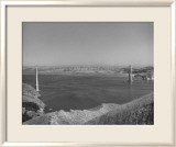 1935 Golden Gate Bridge Towers 1 and 2 Poster Framed Giclee Print by Photo Archive Underwood
