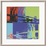 Puente de Brooklyn, ca. 1983 (naranja, azul y lima) Lminas por Andy Warhol