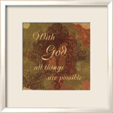 Words to Live By: With God Print by Marilu Windvand