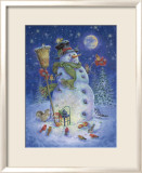 Snowman&#39;s Feathered Fun Poster par Donna Race
