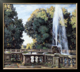 The Fountain, Villa Torlonia Poster by Wilfred Gabriel de Glehn