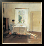 Woman Seated at a Table by a Window Prints by Carl Holsoe