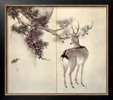 Deer Pine and Bat Prints by Keibun & Toyo Toyohiko