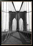 New York, Brooklyn Bridge Cable Framed Giclee Print