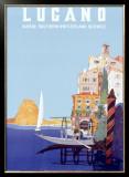 Italian Resort Lugano Framed Giclee Print by Leopoldo Metlicovitz
