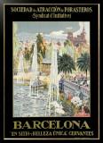 Barcelona Spain Fountain Framed Giclee Print