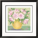 Yellow Vase Peonies II Prints by Patricia Roberts