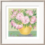 Yellow Vase Peonies I Poster by Patricia Roberts