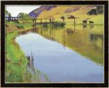 Reservoir with Two Cows Inramat tryck i begränsad utgåva av Marcia Burtt