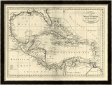 Chart of the West Indies, c.1795 Gerahmter Gicl&#233;e-Druck von Mathew Carey