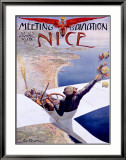 Meeting d'Aviation, Nice, 1910 Ingelijste gicléedruk van Charles Leonce Brosse