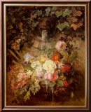 Flowers under a Lion Fountain Print by Auguste W. Reichelt