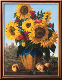 Sunflowers over Castle Ruin Print by Joe Anna Arnett