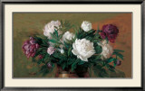 White and Purple Peonies Posters by Joe Anna Arnett