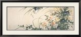 Design of Morning Glories, Dianthus, and Other Flowers Poster by Utagawa Toyohiro