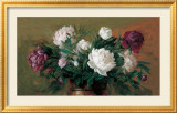White and Purple Peonies Poster by Joe Anna Arnett