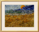 Landscape with Wheat Sheaves and Rising Moon Ingelijste gicledruk van Vincent van Gogh