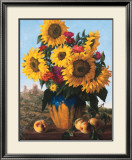 Sunflowers over Castle Ruin Posters by Joe Anna Arnett