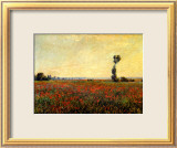 Poppy Landscape Ingelijste gicledruk van Claude Monet