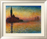 Sunset In Venice Print by Claude Monet