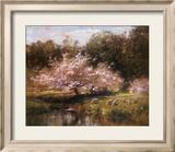 Schafe grasen unter den Apfelblüten Kunstdrucke von John Appleton Brown
