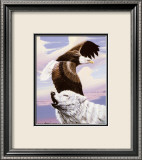 Eagle in Flight with Wolf Print by Gary Ampel
