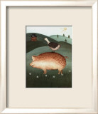 Pig with Goose Art by Valerie Wenk