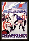Chamonix, Hockey Framed Giclee Print by Roger Broders