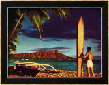 Outrigger and Diamond Head Estampe encadrée par Stewart Fern