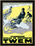 Verschuuren T.W.E.M. Cycling and Motor Race Framed Giclee Print by Charles Verschuuren