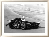 Moto Ducati Sidecar Motorcycle Race Framed Giclee Print