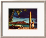 Outrigger and Diamond Head Poster par Stewart Fern