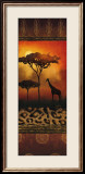 Giraffe at Sunset Poster by Nicola Rabbett